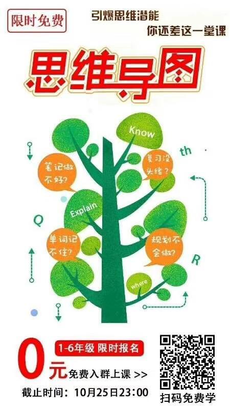 微信朋友圈刷屏的免费思维导图课程海报